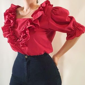Vintage Malco Modes ruffled red puff sleeve blouse